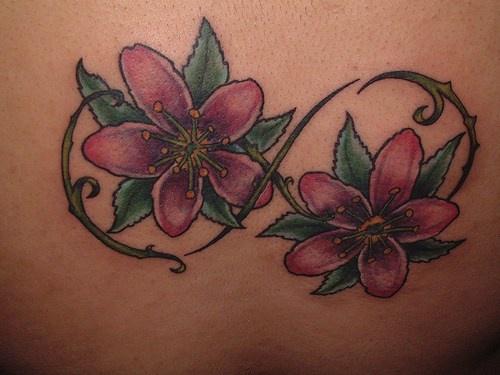 Infinite flower tracery tattoo