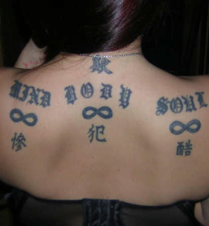 Infinity symbols and chinese tattoo on back