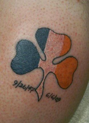 Irish clover memorial tattoo