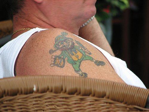 Drunk leprechaun shoulder tattoo