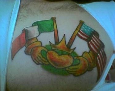 Ireland and usa friendship tattoo