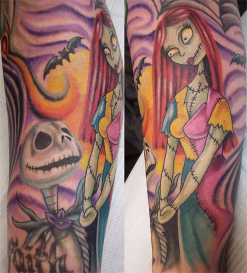 Colourful bright jack and sally forearm tattoo for Jack skellington and sally tattoos