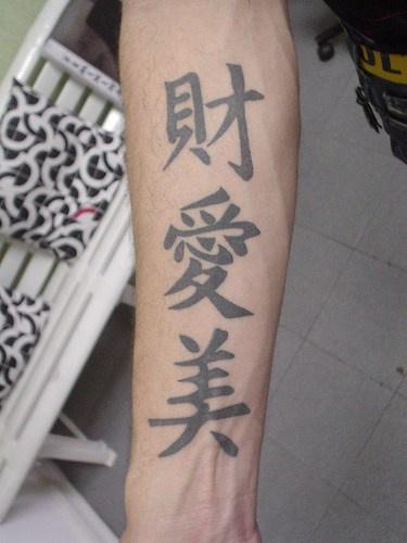 Chinese hieroglyphs forearm tattoo