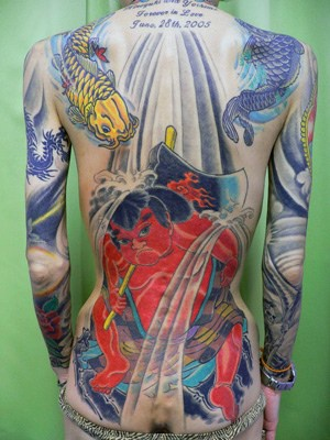 Full back japanese style coloured tattoo