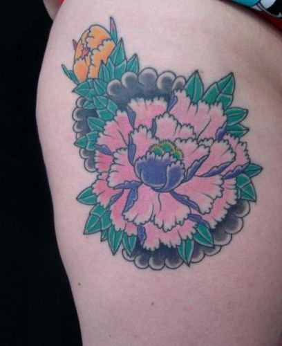 Asian pink flower on lady hip tattoo