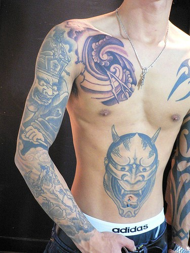 Yakuza style asian demons tattoo