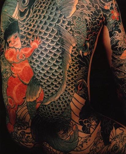 Koi with japanese koi full body tattoo
