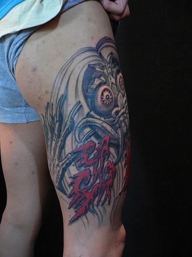 Japanese demon tattoo on hip
