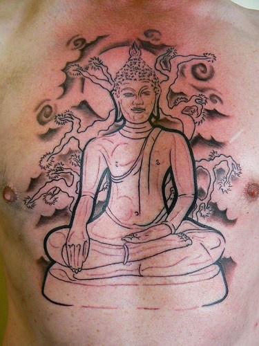 Buddha meditating under sakura tattoo