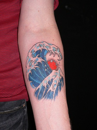 Asian style sea wave on arm for Wave arm tattoo