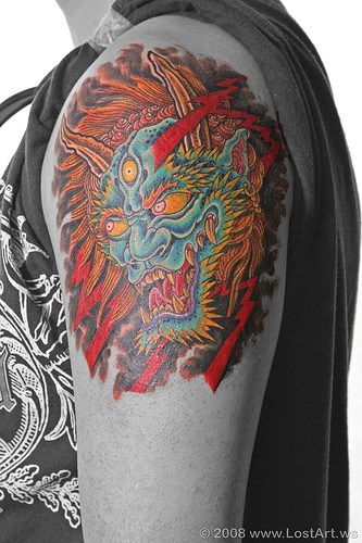 Horned japanese demon tattoo