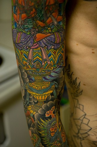 Colourful japanese style full sleeve tattoo