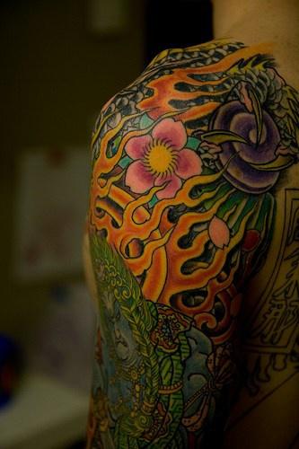 Colourful asian demons atrtwork  tattoo