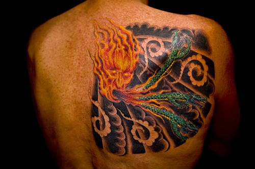 Asian style flame face with dragons for Asian face tattoos