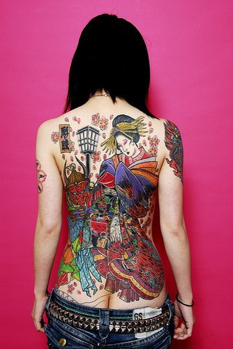 Geisha asian artwork in colour large tattoo