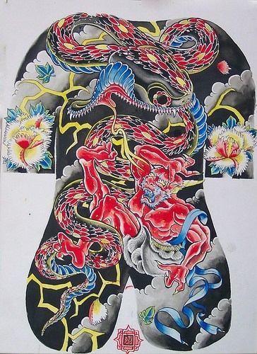 disegno giapponese yakuza drago rosso tatuaggio