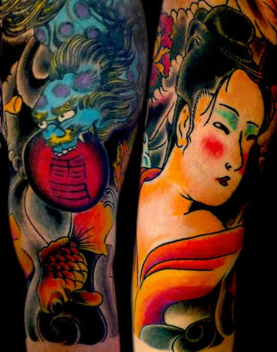 Japanese geisha and blue dragon coloured tattoo
