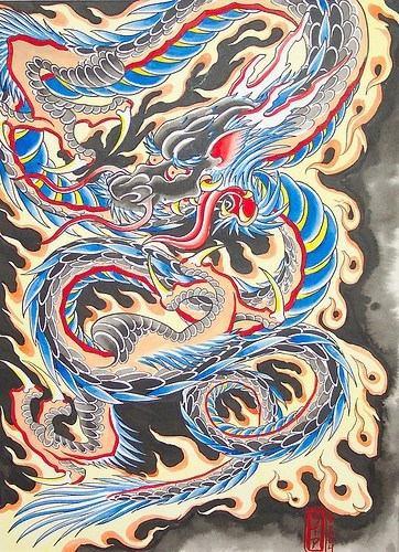 drago giapponese blu tatuaggio