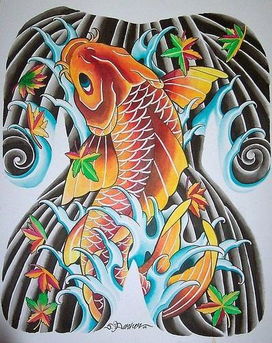 Golden japanese koi tattoo design for Japanese koi design