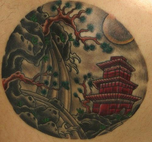Round japanese landscape tattoo