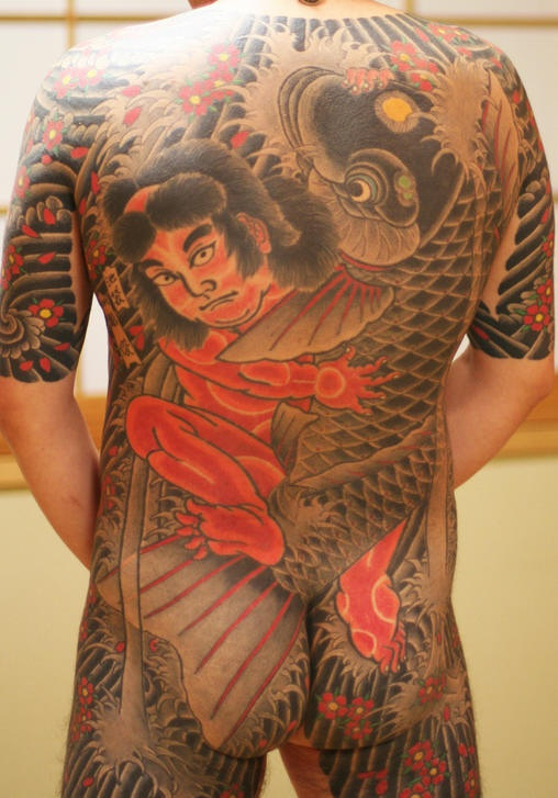 Japanese samurai and dragon full body tattoo