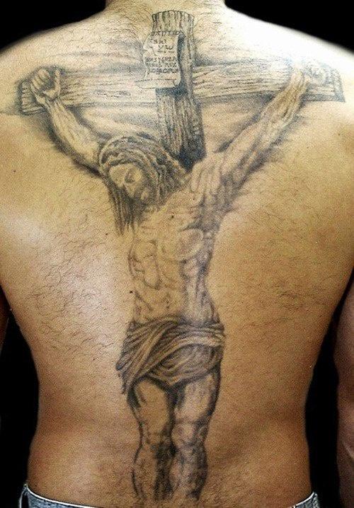 Jesus crucifixion full back tattoo