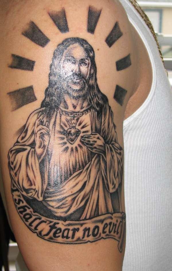 Shall fear no evil Jesus tattoo