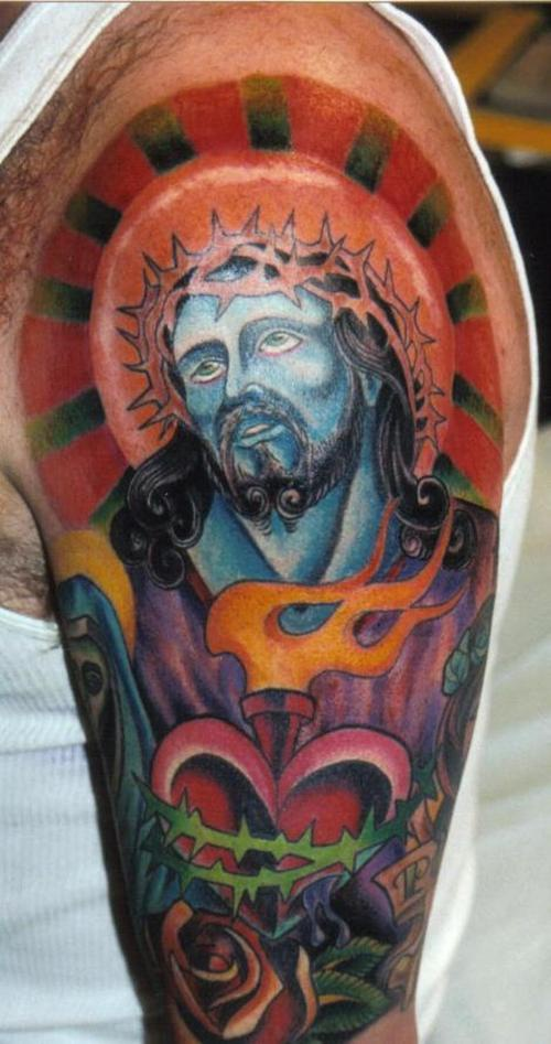 Sacred heart with jesus tattoo in colour