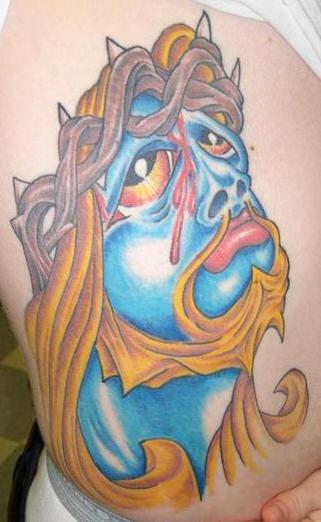 Cartoonish jesus tattoo in colour