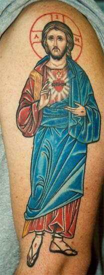 Christian jesus image tattoo in colour