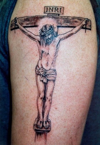 Jesus crucifixion inri tattoo