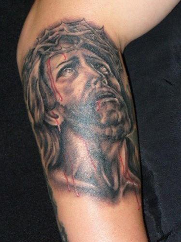 Jesus pain black ink tattoo
