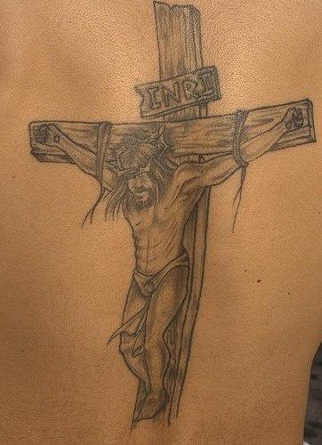 Jesus crucifixion black ink tattoo