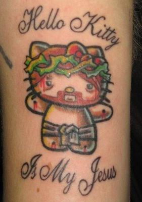 Hello kitty is his jesus tattoo