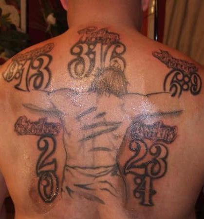 Jesus crucifixion with dates tattoo