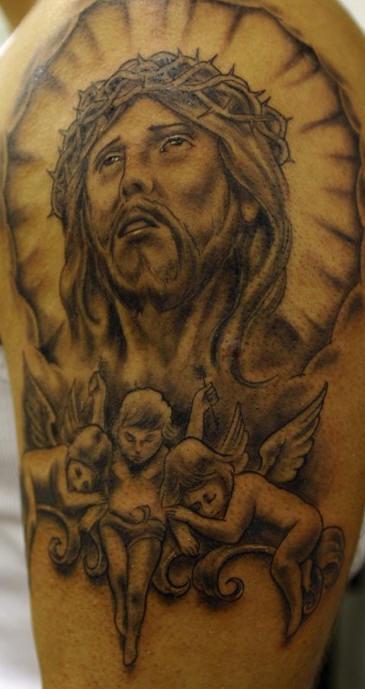 Jesus christ and cherubs black ink tattoo