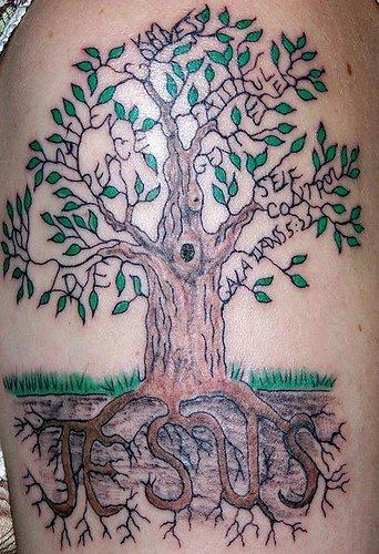 Jesus roots tattoo of tree