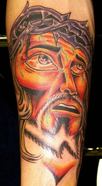 Surreal jesus portrait tattoo