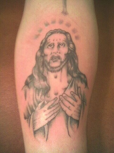 """gesu"""" misericordioso sul braccio tatuaggio"""