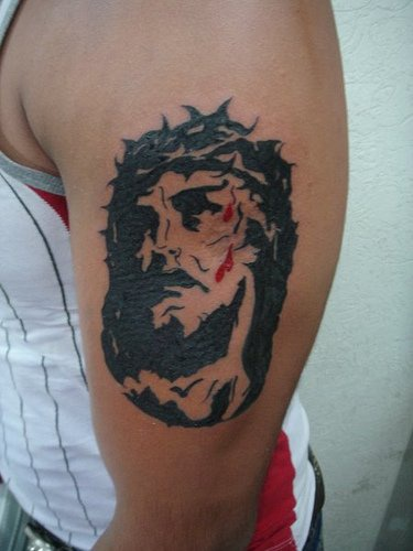 Jesus print like portrait tattoo