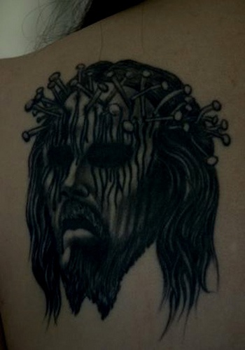 Jesus with crown of nails  tattoo