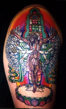 Surreal jesus tattoo in colour