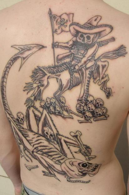 Jose posada skeletons  tattoo on back