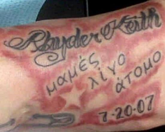 Latin writings and names tattoo