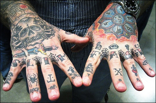 Knuckles tattoo, slim fast, spiders, letters, signs