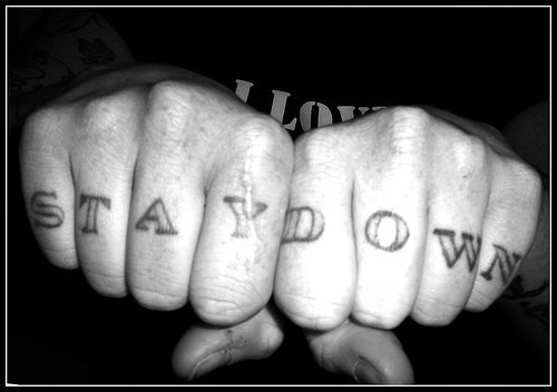 Knuckle tattoo, stay down, black inscription