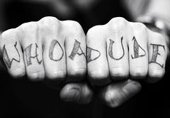 Knuckle tattoo, whoadude, big, black letters