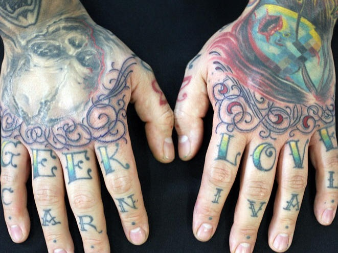 Knuckle tattoo, geer love, carnival, styled inscription