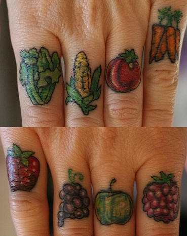 Knuckle tattoo, colourful, tasty vegetables, fruits