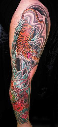 Koi fish and asian tiger tattoo in colour